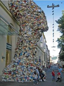 Giant book sculpture in Linz, Austria