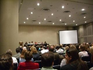 A full room at the blogger panel