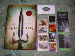 Graceling, stamp bookmarks, Harvard bookstore